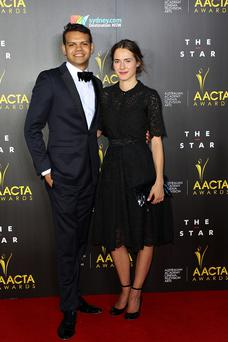 SYDNEY, AUSTRALIA - JANUARY 30: Meyne Wyatt and Caren Pistorus arrive at the 3rd Annual AACTA Awards Ceremony at The Star on January 30, 2014 in Sydney, Australia. (Photo by Lisa Maree Williams/Getty Images)