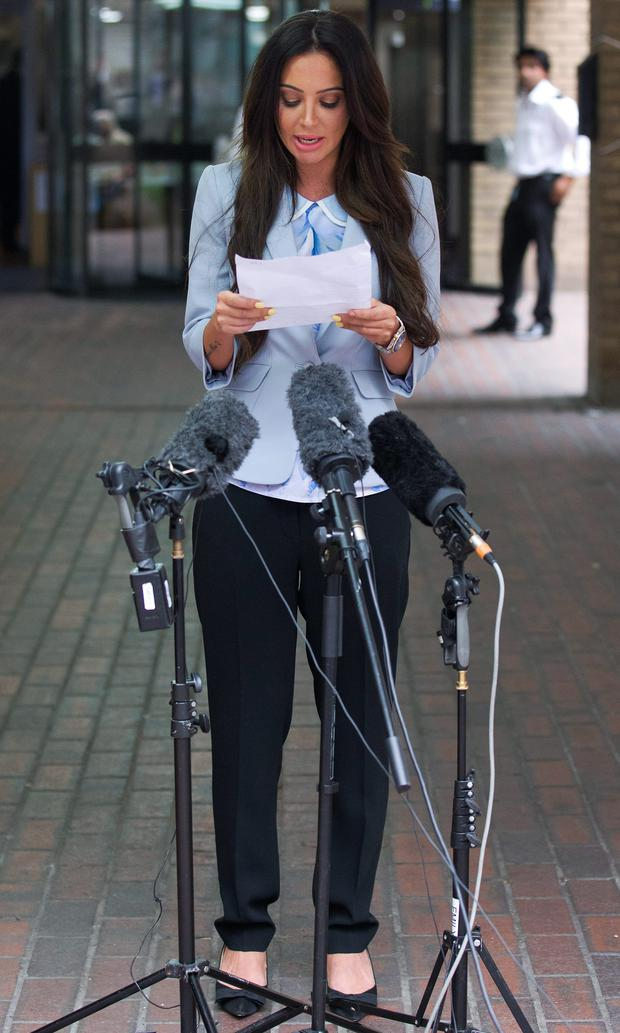 Former N-Dubz singer Tulisa Contostavlos gives a statement outside Southwark Crown Court