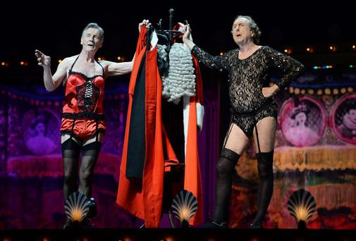 Michael Palin and Eric Idle perform on the closing night of 'Monty Python Live (Mostly)' at the O2 Arena in London, England. Photo: Dave J Hogan/Getty Images