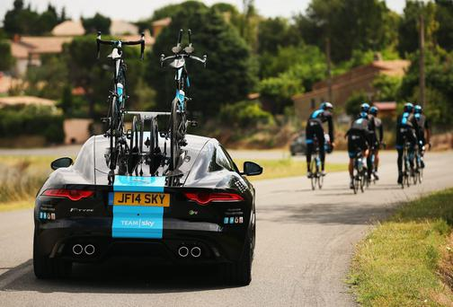 Team Sky out for a training spin in Carcassonne with their new Jagaur team car during the second rest day of the Tour de France. Photo: Bryn Lennon/Getty Images for Jaguar