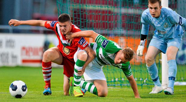 Cork City's Danny Morrisey in action against Simon Madden of Shamrock Rovers in the EA Sports Cup quarter-final. Picture credit: David Maher / SPORTSFILE