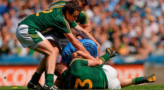 Dublin's Eoghan O'Gara involved in a fracas with Meath players Eoghan Harrington, Michael Burke, and Kevin Reilly which led to the alleged biting incident during the with Leinster SFC final. Photo: Piaras O Midheach / SPORTSFILE