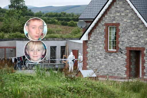 Forensic experts at the family home built by Shane Skeffington in Banada, Co Sligo. Inset: Shane Jnr and his younger brother Brandon (9).