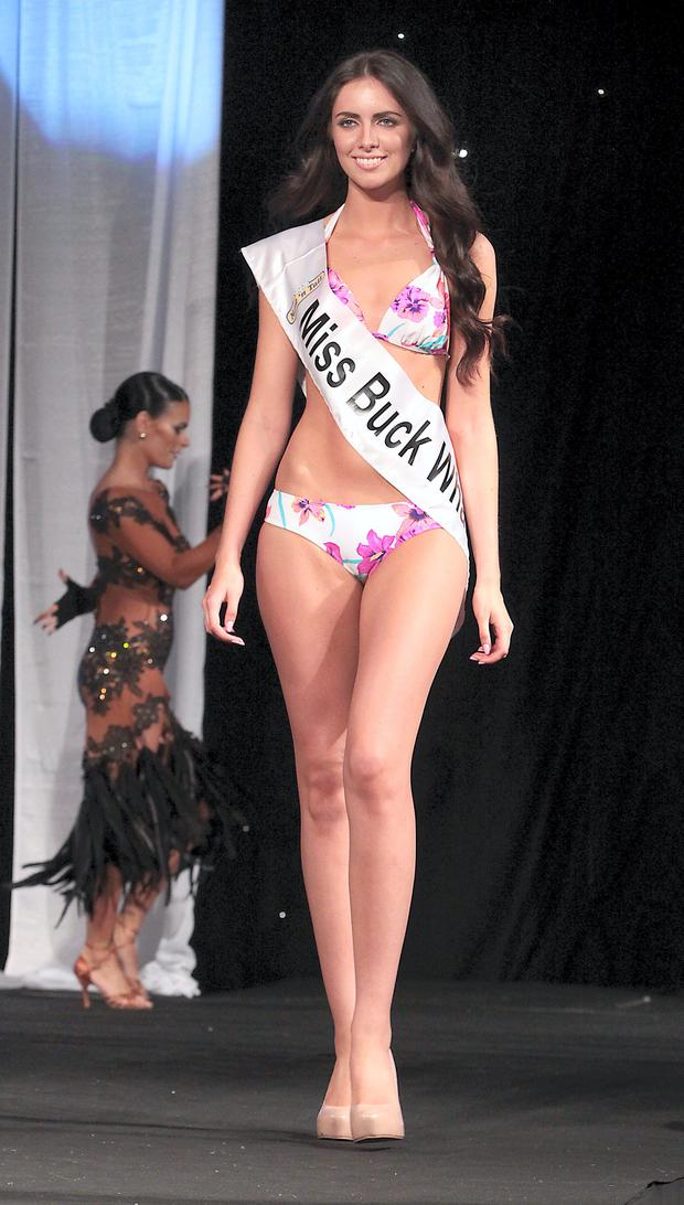 Winner Miss Ireland 2014 Jessica Hayes from Cork on stage in the swimwear section at Miss Ireland 2014