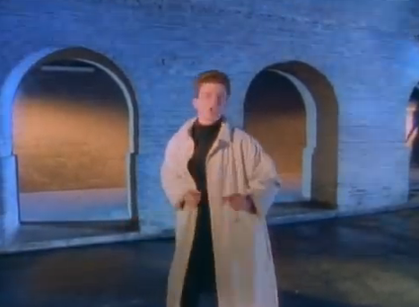 Rick Astley performing in the video for 'Never Gonna Give You Up'