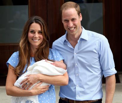 Prince William, Duke of Cambridge and Catherine, Duchess of Cambridge, depart The Lindo Wing with their newborn son