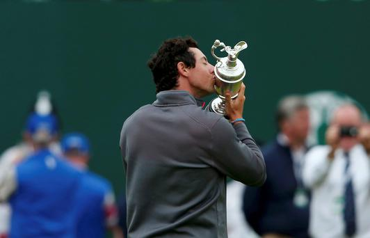Rory McIlroy kisses the Claret Jug after winning the British Open Championship, the third Major of his career