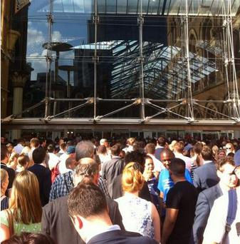 Outside London's Liverpool Station after it was evacuated this evening (Photo: Twitter/David Finn)