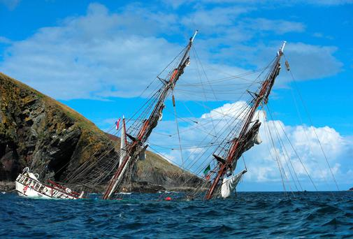 The Astrid tall ship on the rocks when it ran aground