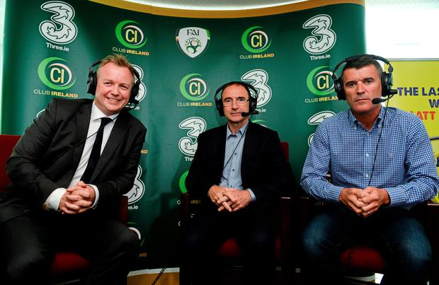 Martin O'Neill, centre, and assistant manager Roy Keane, right, with Today FM presenter Matt Cooper
