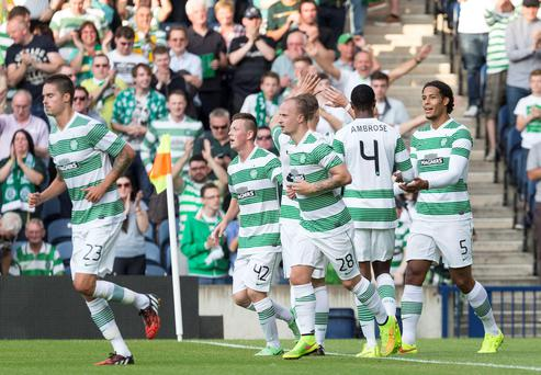Celtic's Virgil van Dijk (right) celebrates scoring his second goal