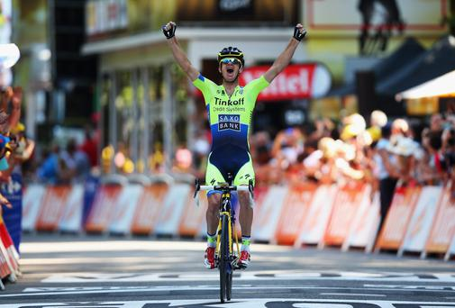 Michael Rogers of Nicolas Roche's Saxo-Tinkoff team celebrates his stage victory in Bagneres-de-Luchon. GETTY