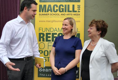 Pearse Doherty, TD, Lucinda Creighton TD and Catherine Murphy TD at the MacGill Summer School in Glenties. (North West Newspix)