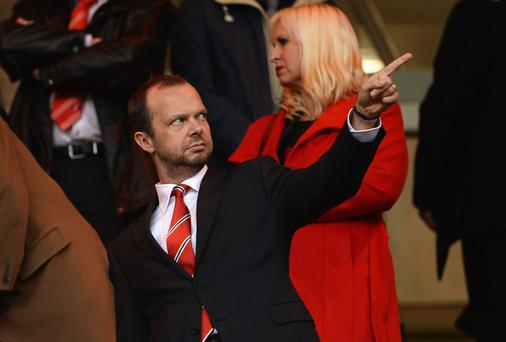 Manchester United chief executive Ed Woodward makes his point that he hasn't set Louis van Gaal any targets for the season ahead but says there is always an expectation of winning at the club. Photo: Michael Regan/Getty Images
