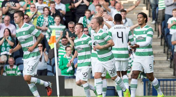 Virgil van Dijk (right) celebrates after scoring his second goal during Celtic's Champions League second qualifying round win over KR Reykjavik at Murrayfield. Photo: Alan Rennie/PA Wire