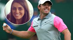 Rory McIlroy at the British Open (Inset) is model Sasha