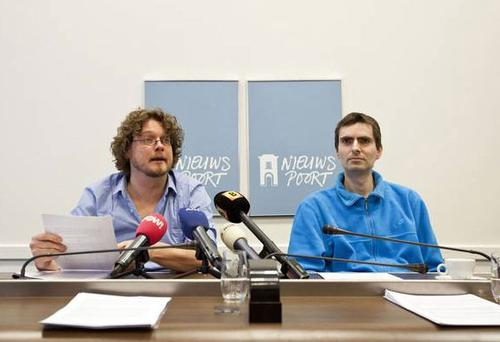 Marthijn Uitenboogaard of MARTIJN, right, and Dutch writer Anton Dautzenberg, a club member, during a press conference in The Hague in March 2012.