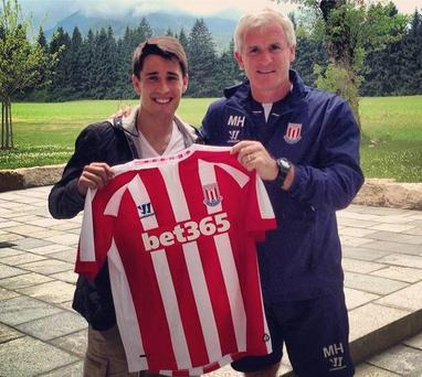 Stoke City's new signing Bojan Krkic with manager Mark Hughes