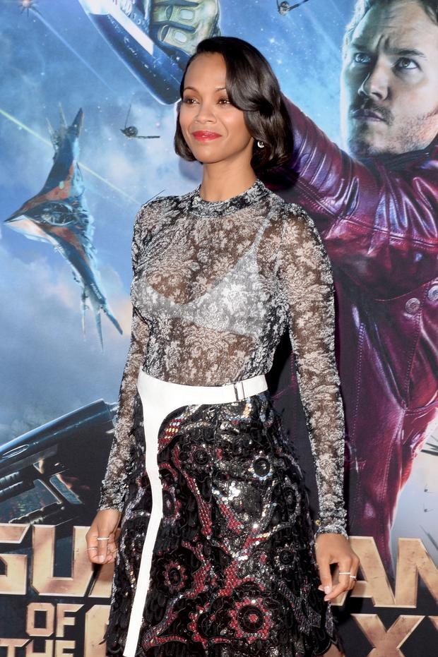 Actress Zoe Saldana attends the premiere of Marvel's