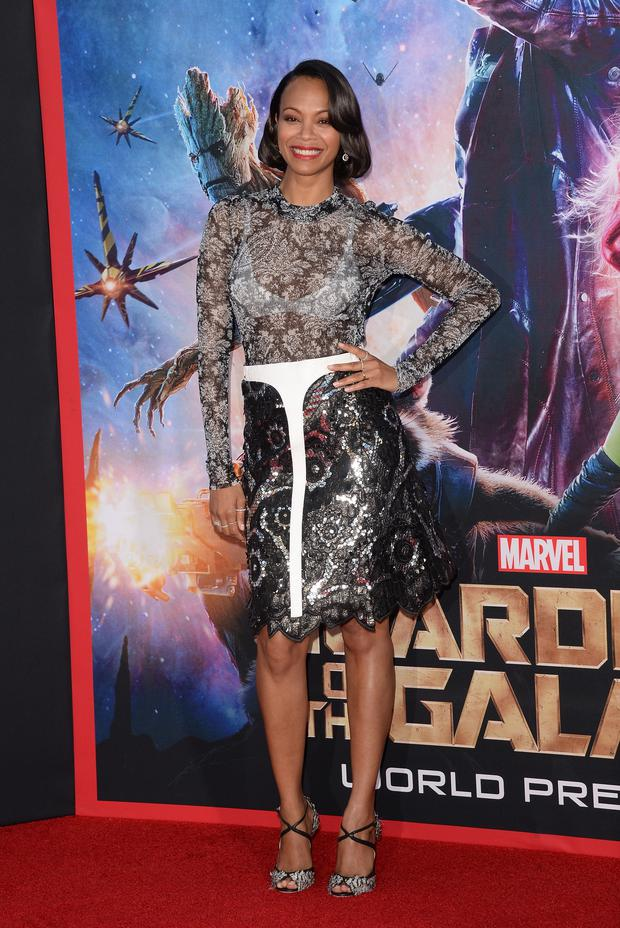 Actress Zoe Saldana attends the premiere of Marvel's 'Guardians Of The Galaxy'