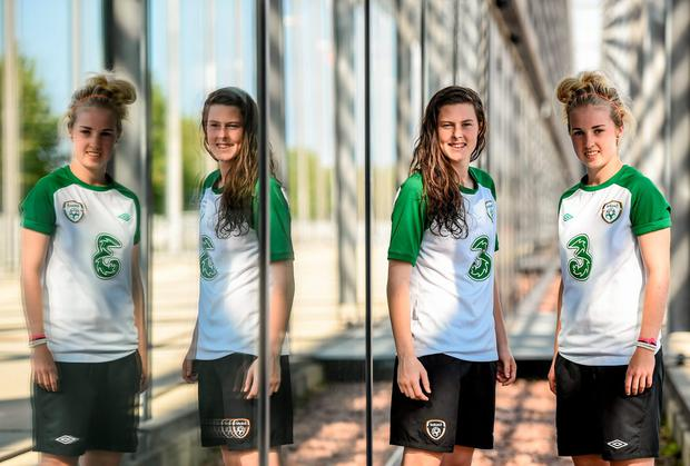 Dunne living the dream as irish girls chase euro glory in oslo goalkeeper brooke dunne far right and team mate amanda mcquillan will be hoping ccuart Image collections