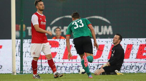 Legia Warszawa's Michal Zyro scores a goal during the UEFA Champions League Second Qualifying Round match at Tallaght Stadium, Dublin.