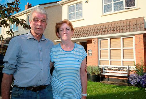 Martin and Violet Coyne at their home in Luttrel Park Drive in Blanchardstown, which they have been asked to leave due to the house being repossessed from their landlord. Picture: Arthur Carron