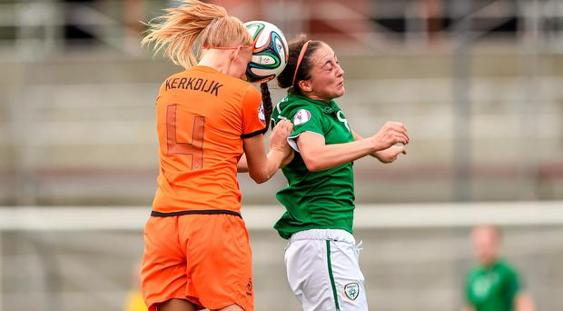 Amy O'Connor, Republic of Ireland, in action against Danique Kerkdijk, the Netherlands. UEFA European Women's U19 Championship, Republic of Ireland v the Netherlands. Mjøndalen Stadion, Nedre Eiker, Norway. Picture credit: Stephen McCarthy / SPORTSFILE