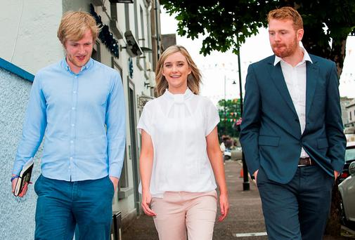 Daithi de Buitlear, Cllr Kate Feeney and Cllr Gary Gannon at the MacGill Summer School in Glenties on Thursday afternoon. Photo: Jason McGarrigle