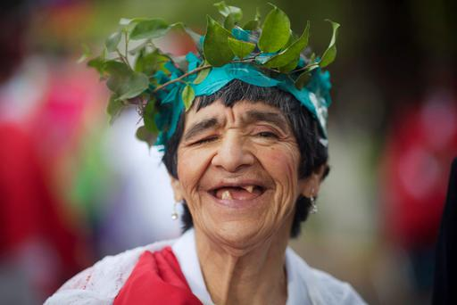 A patient wearing a costume representing the Motherland poses before a parade, as part of Independence Day celebrations at the Larco Herrera psychiatric hospital in Lima. According to staff, the hospital was founded in 1917 and is the biggest of its kind in Peru, currently housing more than 450 patients. Peru will celebrate its Independence Day on July 28.
