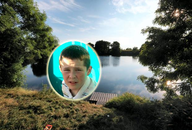 Teenager Gareth McGuirk (inset) and the Drogheda reservoir where he drowned