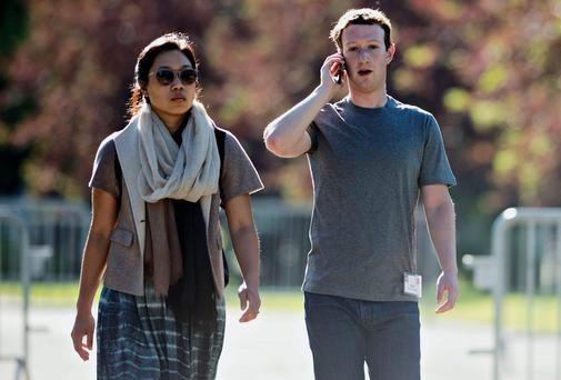 Mark Zuckerberg, chief executive officer and founder of Facebook, with his wife Priscilla Chan at the Allen & Co Media and Technology Conference in Sun Valley, Idaho, earlier this month. Photo credit: Daniel Acker/Bloomberg