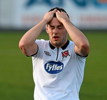 Patrick Hoban, Dundalk, reacts after missing a chance of another goal as Dundalk's Europa League dream came to an end in heartbreaking fashion (Picture credit: Matt Browne / SPORTSFILE)