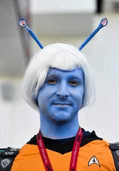 Daniel Klein wears his Star Trek costume on day 1 of the 2014 Comic-Con International Convention held Thursday, July 24, 2014, in San Diego. (Photo by Denis Poroy/Invision/AP)
