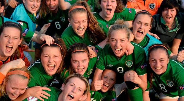 21 July 2014; Republic of Ireland players celebrate their 2-1 victory over Sweden. 2014 UEFA Women's U19 Championship, Republic of Ireland v Sweden, UKI Arena, Jessheim, Ullensaker, Norway. Picture credit: Stephen McCarthy / SPORTSFILE