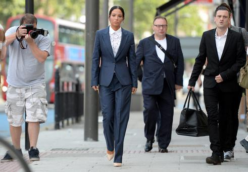 Former N-Dubz singer Tulisa Contostavlos arrives at Stratford Magistrates Court in London