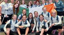 The Ireland squad at Dublin Airport on their return from the UEFA U-19 Women's Championship finals. Picture credit: Ramsey Cardy / SPORTSFILE