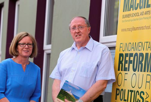 Laura Burke and Prof John Sweeney at the MacGill Summer School in Glenties. (North West Newspix)