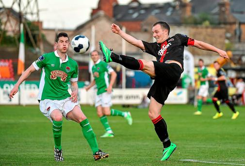 Derek Pender, Bohemians, in action against Cillian Morrison, Cork City