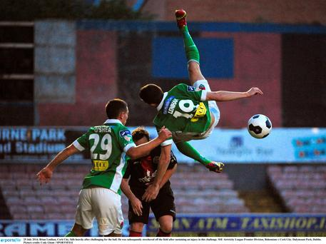 Brian Lenihan, Cork City, falls heavily after challenging for the ball. He was subsequently strechered off the field after sustaining an injury in this challenge. SSE Airtricity League Premier Division, Bohemians v Cork City. Dalymount Park, Dublin. Picture credit: Cody Glenn / SPORTSFILE