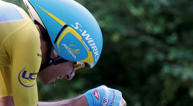 Vincenzo Nibali cycles during the 54-km individual time trial 20th stage of the Tour de France cycling race from Bergerac to Perigueux