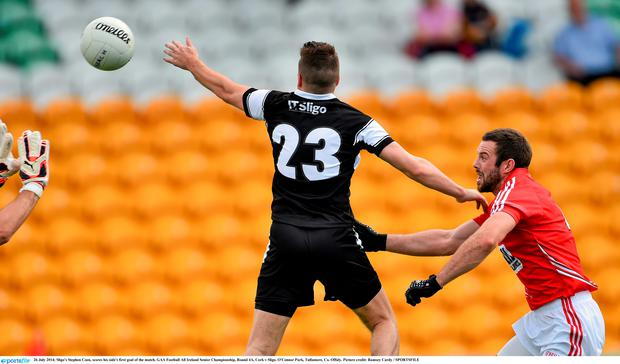 Sligo's Stephen Coen, scores his side's first goal of the match. GAA Football All Ireland Senior Championship, Round 4A, Cork v Sligo. O'Connor Park, Tullamore, Co. Offaly. Picture credit: Ramsey Cardy / SPORTSFILE