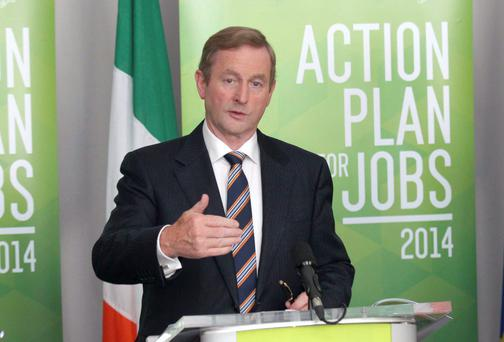 24/07/14 The Taoiseach Enda Kenny TD pictured at the press conference to publish the Action Plan for Jobs Tenth Quarterly Progress Report at the Italian Room, Government Buildings, Merrion Street, Dublin this afternoon.. Pic Stephen Collins/Collins Photos