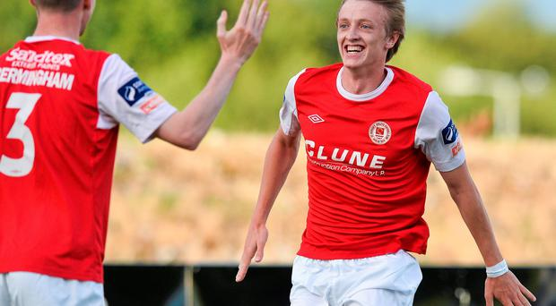 St. Patricks Athletic's Chris Forrester, right, celebrates after scoring his side's first goal with team-mate Ian Bermingham.