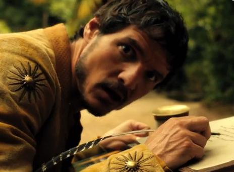 Pedro Pascal gives a weird look at the camera in the blooper reel