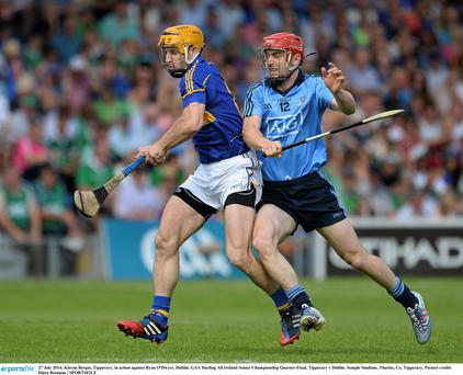 Kieran Bergin, Tipperary, in action against Ryan O'Dwyer, Dublin. GAA Hurling All Ireland Senior Championship Quarter-Final, Tipperary v Dublin. Semple Stadium, Thurles, Co. Tipperary. Picture credit: Dáire Brennan / SPORTSFILE