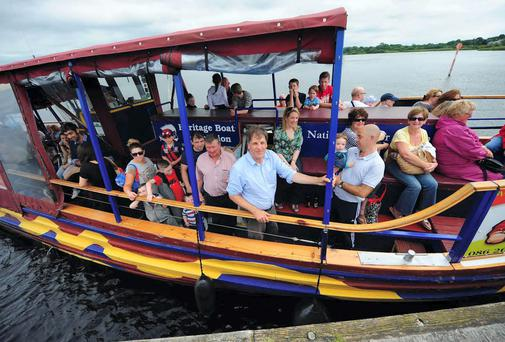 Kim Bielenberg on the Viking Ship Cruise, as it arrives at Hodson Bay, Athlone. Photograph: James Flynn/APX