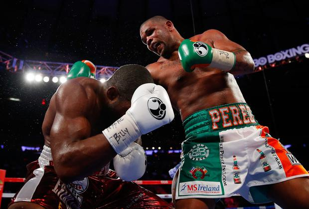 Mike Perez connects with Bryant Jennings during their WBC Heavyweight title eliminator bout at Madison Square Garden. Photo: Mike Stobe/Getty Images