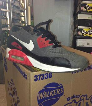Handout photo issued by Durham Police of a training shoe left behind by a would-be thief at a scene of a crime.