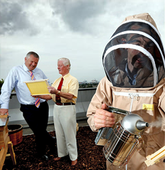 AIB's Simon Scroope, and Boyne Valley's Malachy McCloskey at the installation of the AIB apiary.